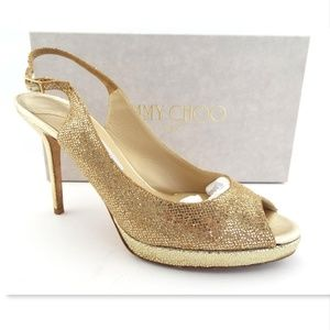 JIMMY CHOO Glitter Slingback Open Toe Pumps 40